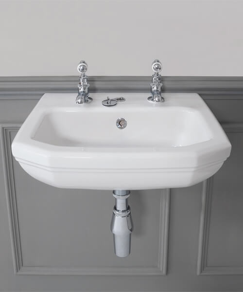 Silverdale Empire 450 x 380mm White 2 Taphole Cloakroom Basin
