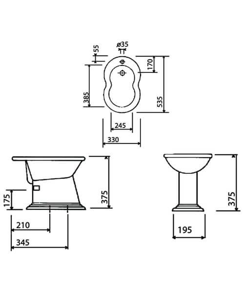 Technical drawing 32909 / VCBID1THWHI