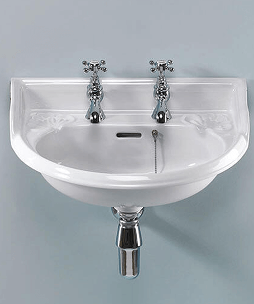 Additional image of Silverdale Victorian 530 x 385mm White 2 Taphole Cloakroom Basin