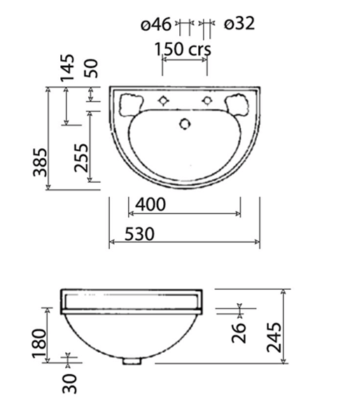 Technical drawing 32915 / VCBASCL2WHI