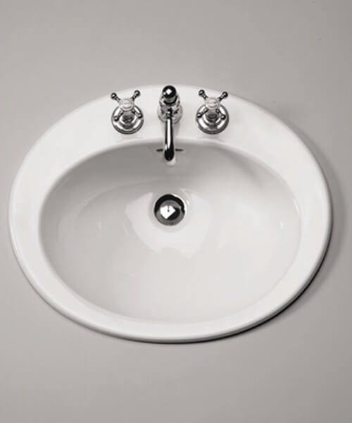 Silverdale Belgravia Coquet 565 x 460mm White 3 Taphole Inset Vanity Basin