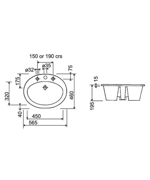 Technical drawing 32924 / CQBASIN3WHI