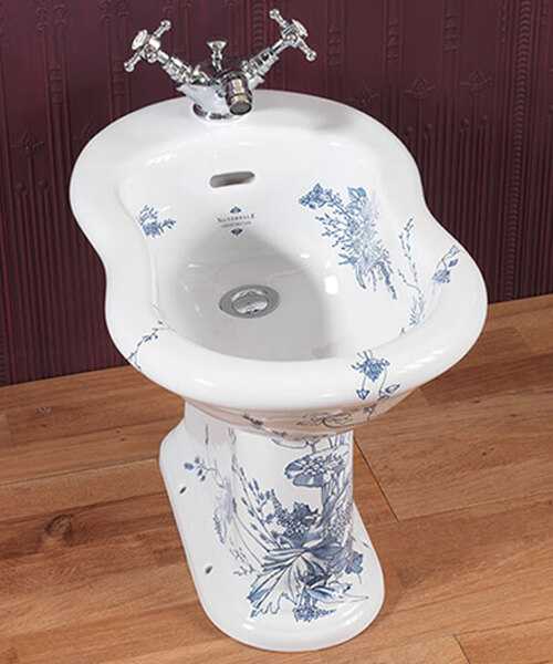 Silverdale Victorian Blue Pattern 360 x 570mm Freestanding Bidet