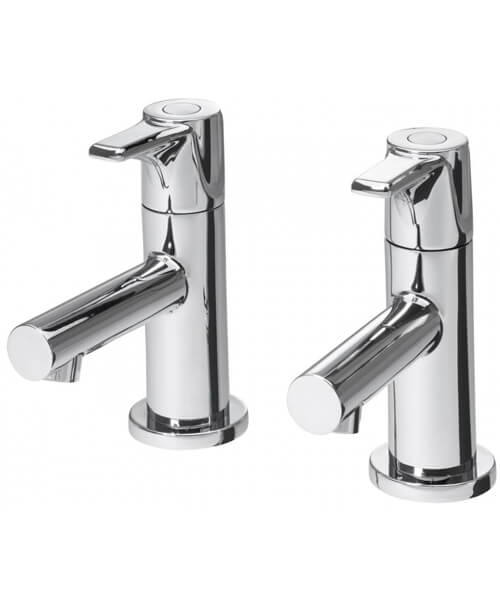 Triton Dene Chrome Pair Of Basin Taps With Slotted Click Clack Waste
