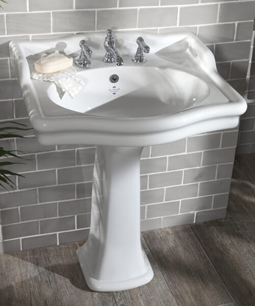 Silverdale Loxley Classic 650 x 560mm White 3 Taphole Basin
