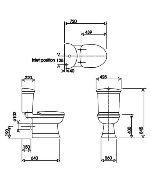 Technical drawing 32957 / HICLOCC6WHI