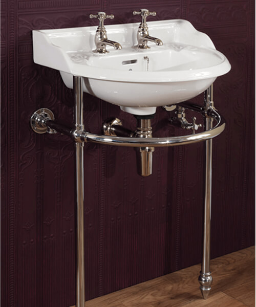 Additional image of Silverdale Belgravia White 2 Tapholes Cloakroom Basin