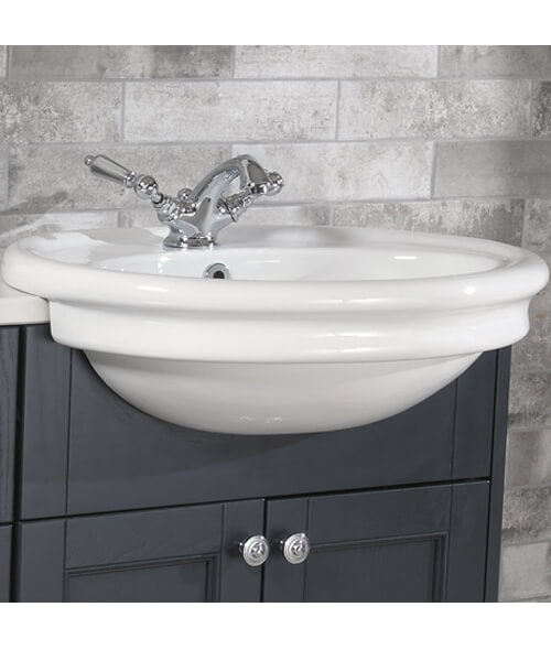 Silverdale Hillingdon 600 x 490mm White 1 Taphole Semi Counter Top Basin