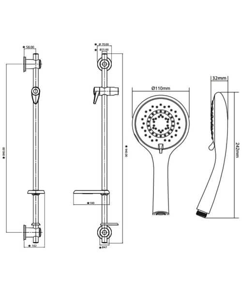 Technical drawing 50764 / TSKCAREGRBWHT