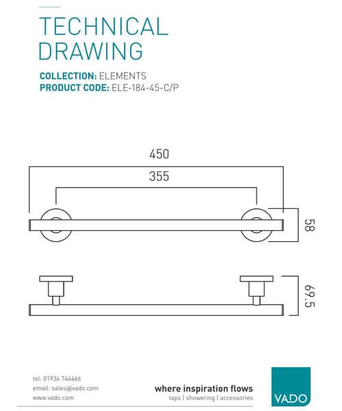 Technical drawing 25272 / ELE-184-45-C/P