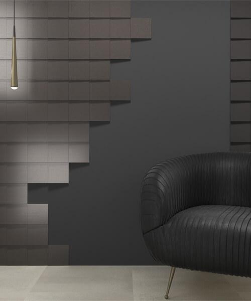 Dune Shapes 4 Transverse 1 Graphite 14.7 x 14.7cm Ceramic Wall Tile