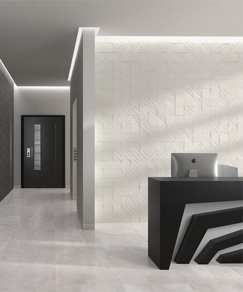 Dune Shapes 4 Transverse 1 Clay 14.7 x 14.7cm Ceramic Wall Tile