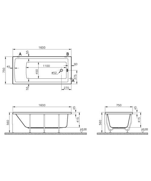 Additional image of VitrA Neon Single Ended Rectangular Bathtub