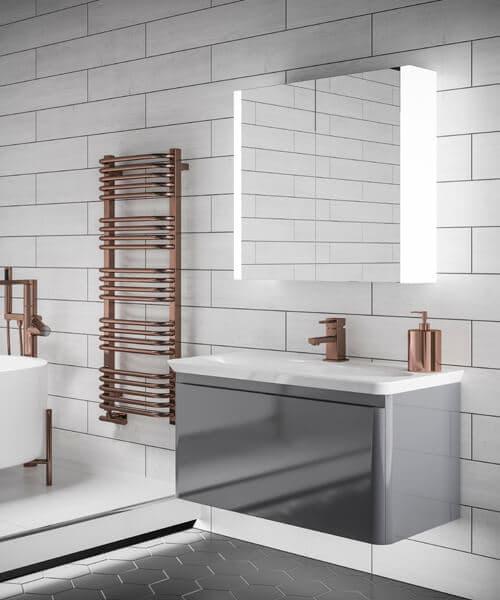 HIB Paragon 60 LED Illuminated Double Door 664 x 700mm Aluminium Mirror Cabinet