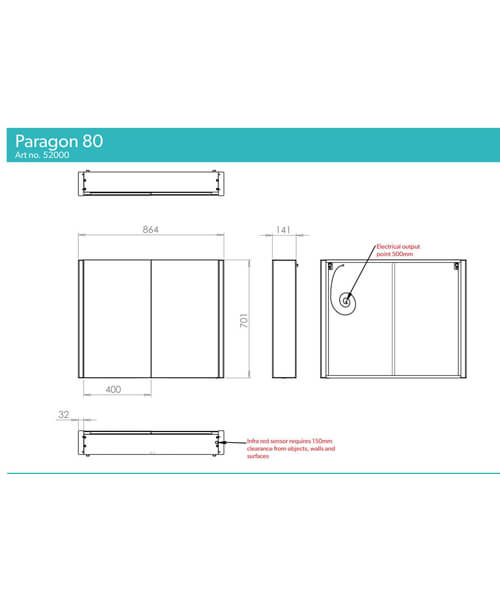 Additional image of HIB Paragon 60 LED Illuminated Double Door 664 x 700mm Aluminium Mirror Cabinet