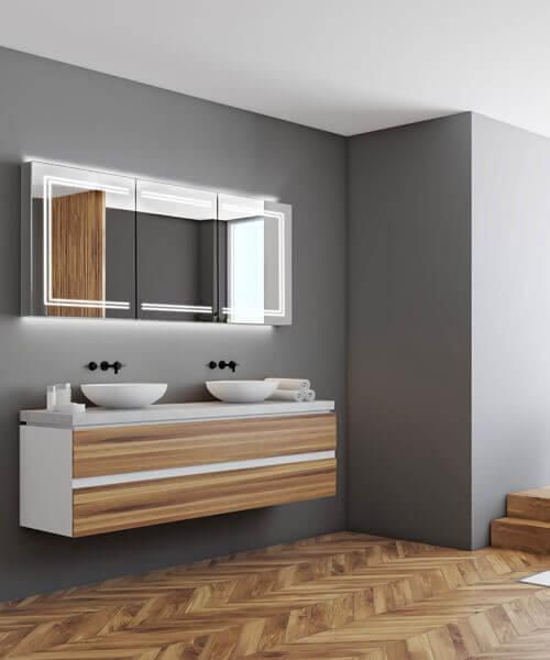 HiB Edge 120 Triple Door LED Illuminated Cabinet 1200 x 700mm