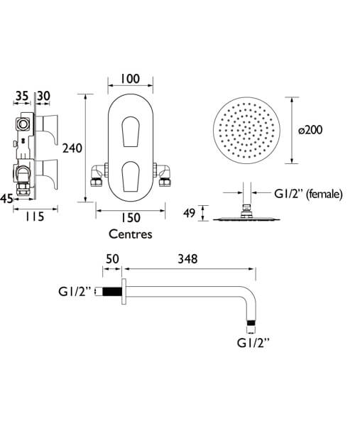 Technical drawing 55401 / HOURGLASS SHWR PK2