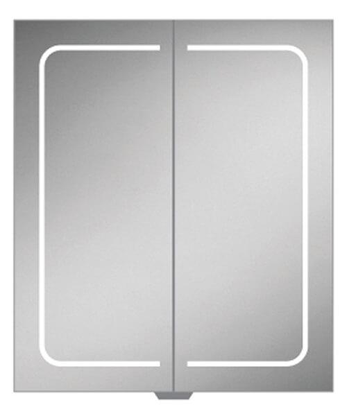 HIB Vapor 600 x 700mm Double Door LED Illuminated Aluminium Mirror Cabinet