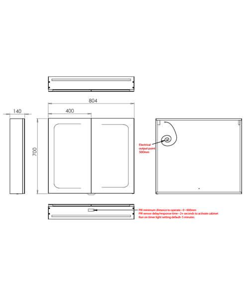 Additional image of HIB Vapor 600 x 700mm Double Door LED Illuminated Aluminium Mirror Cabinet