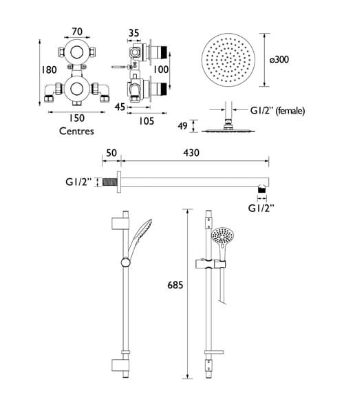 Technical drawing 55404 / ORB SHWR PK2