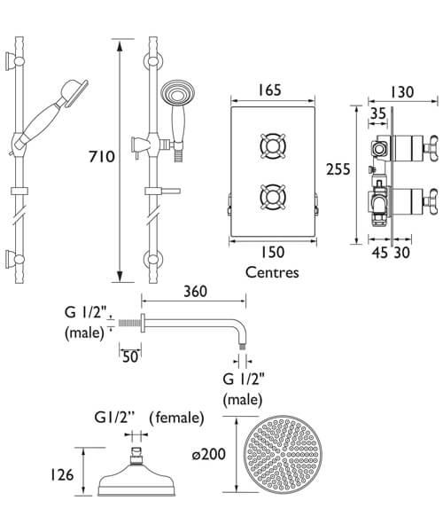 Technical drawing 55377 / TRINITY SHWR PK