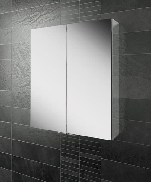 HIB Eris 60 Double Door 600 x 700mm Aluminium Mirrored Cabinet