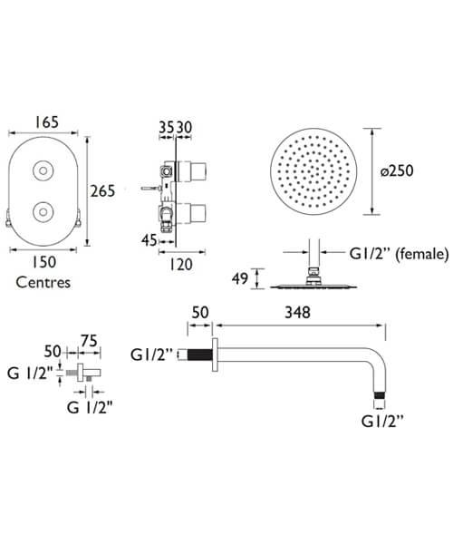 Technical drawing 55382 / ARTISAN SHWR PK
