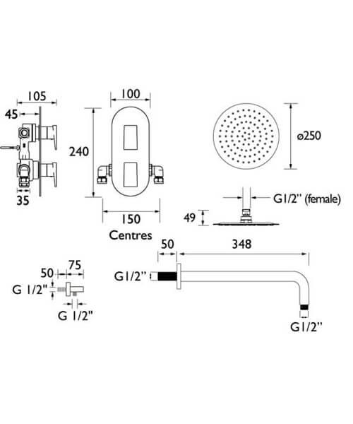 Technical drawing 55408 / SAIL SHWR PK2