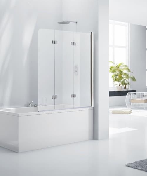 Frontline Aquaglass+ 6mm Frameless 3 Fold Bath Screen