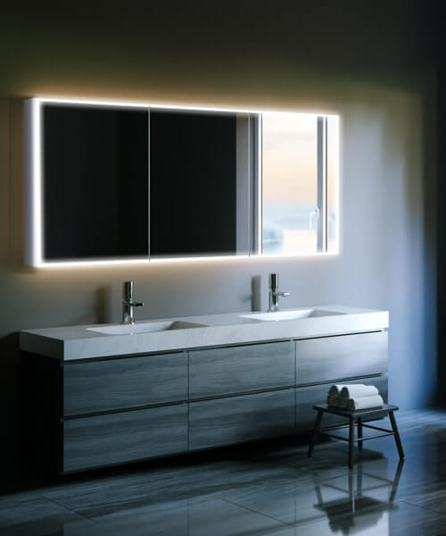 HIB Qubic 120 Triple Door LED Illuminated Aluminium Mirror Cabinet 1200 x 700mm