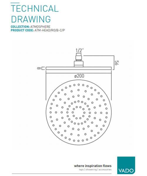 Additional image of Vado Atmosphere 200mm Square Shower Head