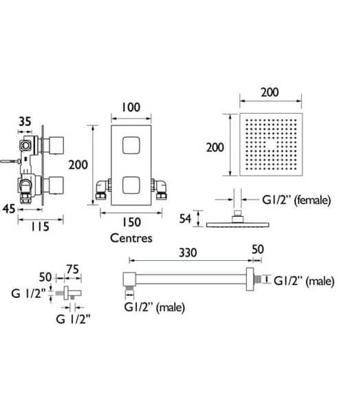 Technical drawing 55416 / COBALT SHWR PK2