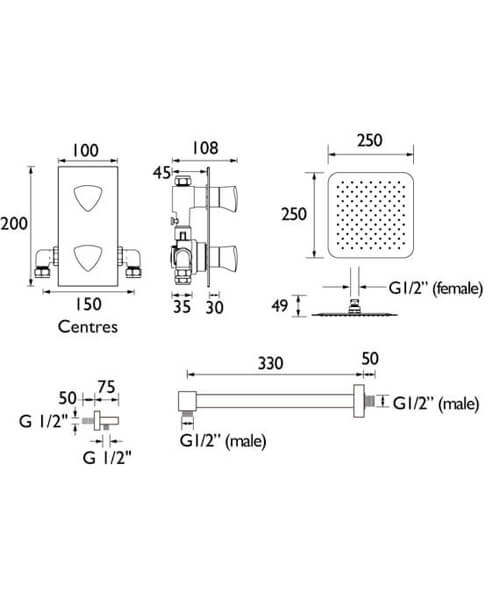 Technical drawing 55414 / BRIGHT SHWR PK2
