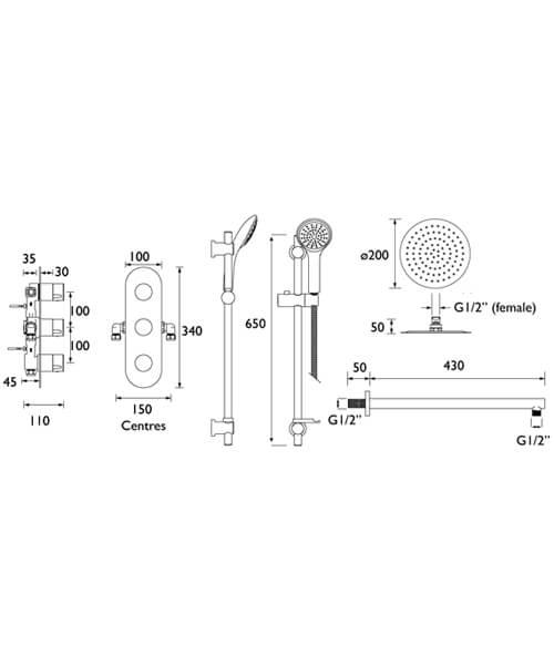 Technical drawing 55420 / EXODUS SHWR PK