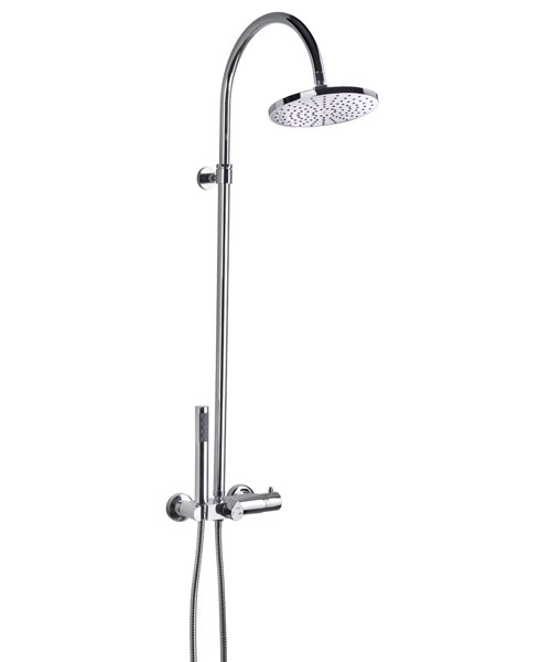 Frontline Fusion Thermostatic Shower Column With Diverter And Shower Head