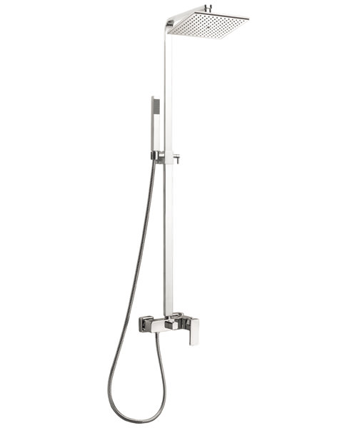 Frontline Cube Thermostatic Shower Column With Diverter And Shower Head