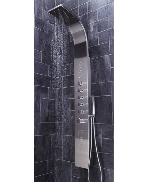 Additional image of Frontline Aquaflow Italia Dharma Thermostatic Shower Panel With Built-In Massage Jets And Water Blade