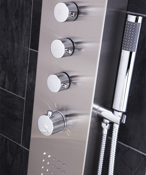 Alternate image of Frontline Aquaflow Italia Dharma Thermostatic Shower Panel With Built-In Massage Jets And Water Blade