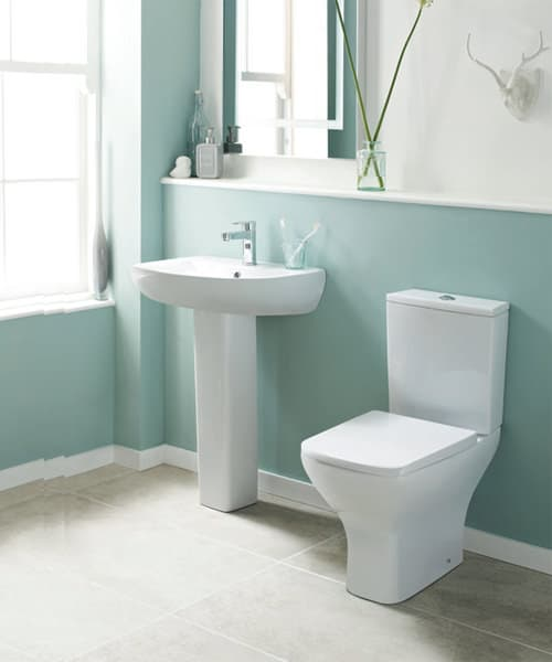 Nuie Premier Ava 610mm Closed Coupled Rimless Pan With Cistern And Soft Close Seat