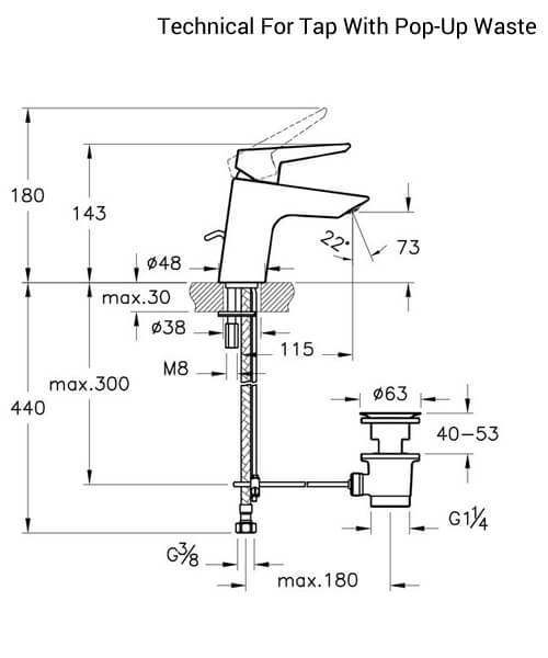 Additional image of VitrA Solid S Deck Mounted Basin Mixer Tap