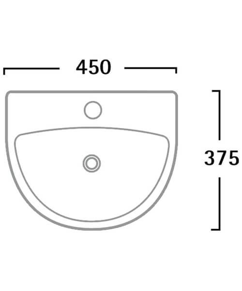 Additional image of Tavistock Micra Ceramic Basin 2 Tap Hole - W 450 x D 375mm