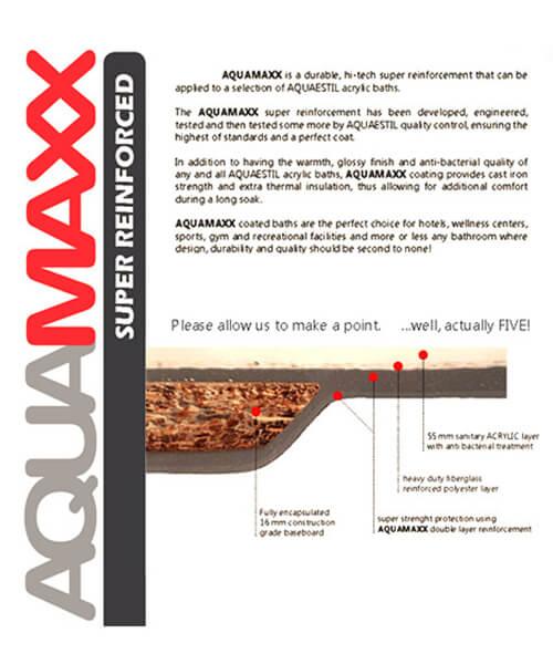 Alternate image of Aquaestil Arena Aquamaxx 1700 x 750mm Whirlpool Bath
