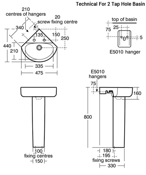 Additional image of Ideal Standard Concept Arc 45cm Corner Handrinse Basin