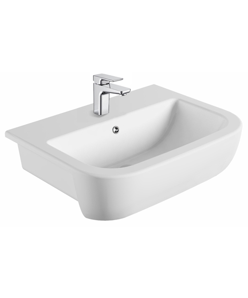 Pura Grace 560mm Semi Recessed Basin With 1 Tap Hole