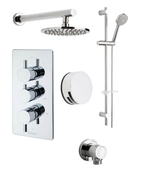 Tre Mercati Concealed Thermostatic Shower Valve With  3 Way Diverter And Shower Set