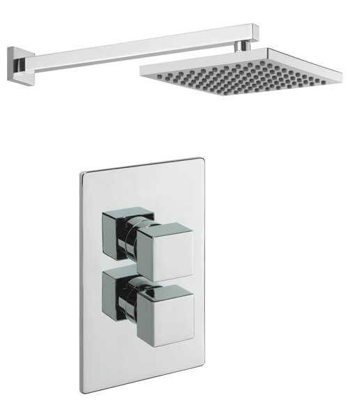 Tre Mercati Thermostatic Concealed Shower Valve With Overhead Arm And Rose