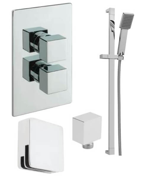Tre Mercati Concealed Thermostatic Shower Valve With 2 Way Diverter And Shower Set