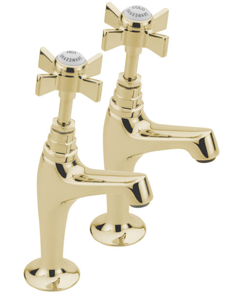 Additional image of Tre Mercati Florence Deck Mounted Pair Of High Neck Pillar Taps