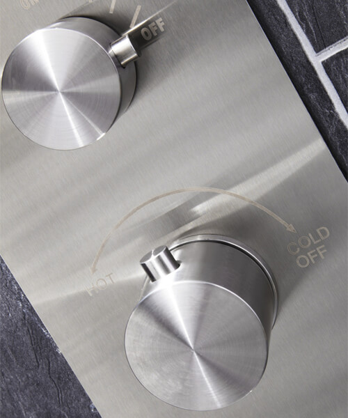 Alternate image of Frontline Aquaflow Italia Trac Thermostatic Shower Panel With Built-In Massage Jets
