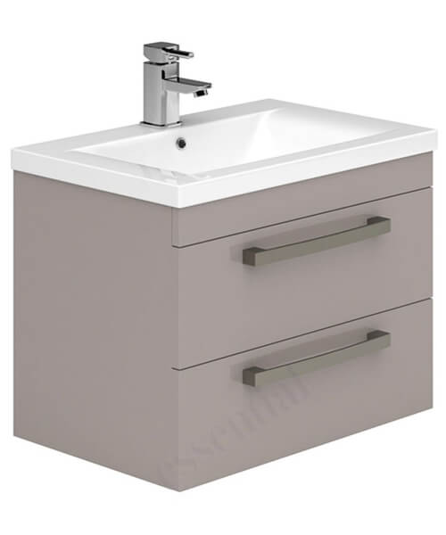 Alternate image of Essential Nevada 800mm 2 Drawers Wall Hung Vanity Unit And Basin Grey